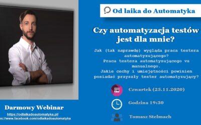 Czy automatyzacja testów jest dla mnie? Webinarium