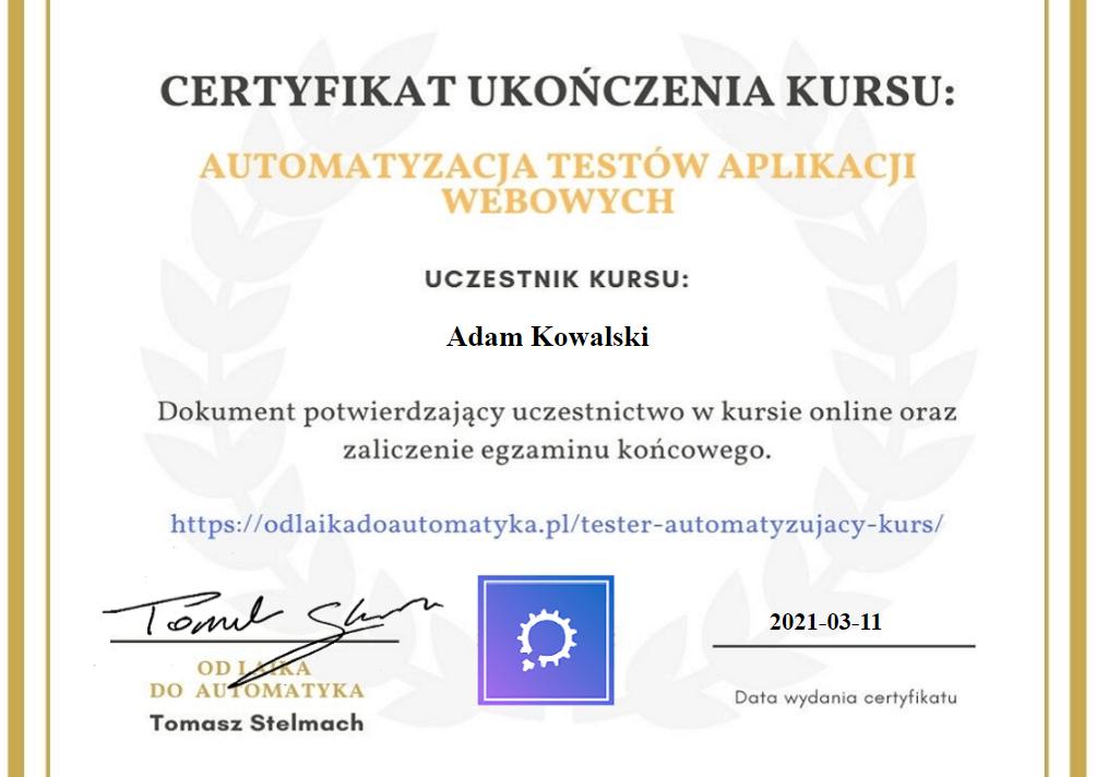 Tester automatyczny - certyfikat ukończenia